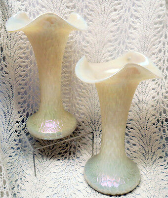 Beautiful Pair Kralik White Martele Finish Art Glass Vases