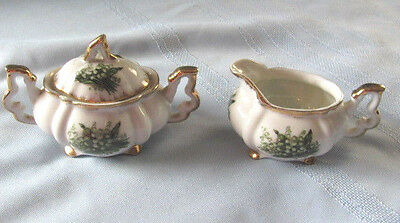 Vintage Napco Japan Fine Bone China Lilly of Valley Sugar w Lid & Creamer