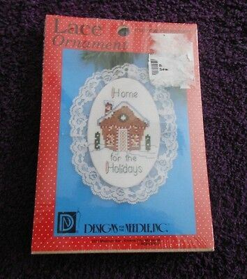 DESIGNS FOR THE NEEDLE Counted Cross Stitch Kit LACE ORNAMENT HOME FOR HOLIDAYS