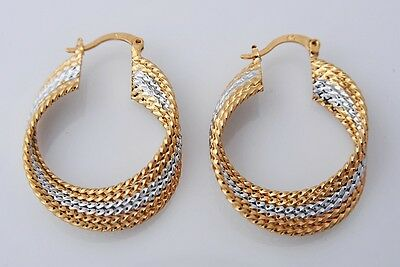 Gorgeous 14K Solid Yellow Gold Filled Hoop Style Womens Jewelry Earrings E318