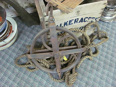 """antique water well pully 11"""" cast iron old farm 1800'S steampunk ORIGINAL"""