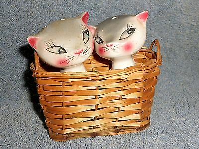 Blue point Siamese kittens in a basket salt and pepper shakers