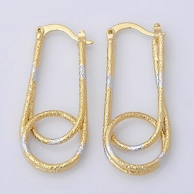 Gorgeous 14K Solid Yellow Gold Filled Hoop Style Womens Jewelry Earrings E050