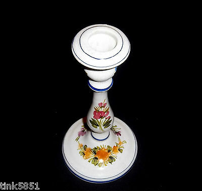 """Ceramiche ABC Bassano Hand Painted Floral 8"""" Candle Holder Stick Made in Italy"""