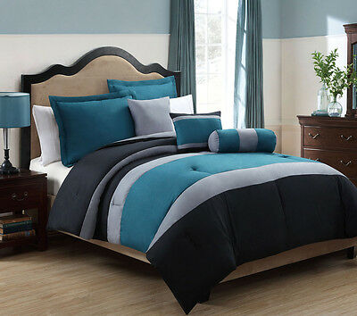 10 Piece Queen Tranquil Teal and Gray Bed in a Bag w/500TC Cotton Sheet Set