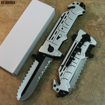 "8"" CHAINSAW TACTICAL SPRING ASSISTED POCKET KNIFE RESCUE folding open 7480 zix"