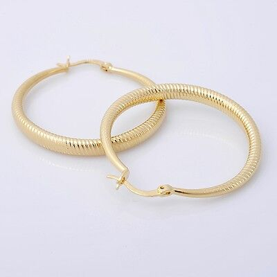 Gorgeous 14K Solid Yellow Gold Filled Hoop Style Womens Jewelry Earrings E003