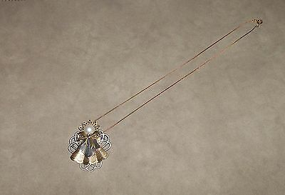 VINTAGE FAUX PEARL COPPER ALUM ANGEL PIN BROOCH PENDANT NECKLACE CHRISTMAS LOVE