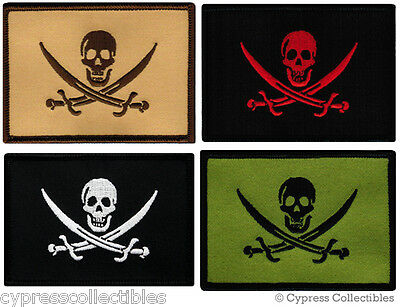 FOUR SKULL FLAG BIKER PATCHES iron-on embroidered PIRATE JOLLY ROGER SKELETON