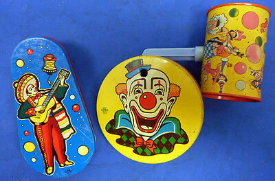 LOT 8 ORIGINAL Vtg 1950s Colorful TIN LITHO Metal New Years Eve Toy NOISE MAKERS