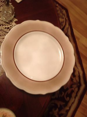 6 SYRACUSE CHINA Dinner PLATES SCALLOP Brown AIRBRUSH VINTAGE Restuarant USA