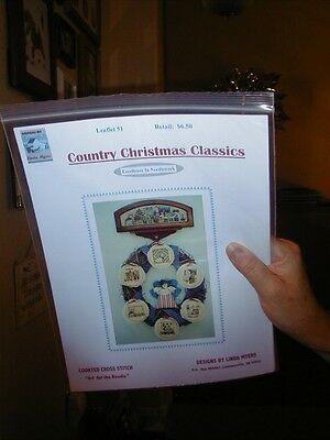 COUNTED CROSS STITCH PATTERN-COUNTRY CHRISTMAS CLASSICS BY LINDA MYERS-NEW