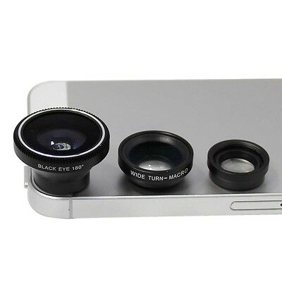 3in1 180 Fish Eye Lens + Wide Angle + Macro Lens for Cell Smart Phone Camera BLK