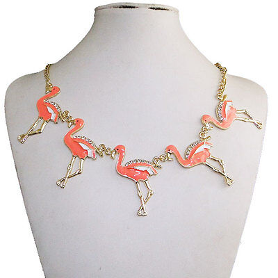 Lovely Bird Five Flamingo Necklace Pendant Austrian Rhinestone Crystal Enamel