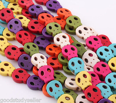30 pcs mix color Turquoise Flat Skull spacer findings beads Bracelet charms 15mm