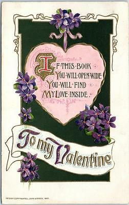 """Vintage VALENTINE'S DAY Postcard """"You Will Find my Love Inside"""" Embossed / 1913"""