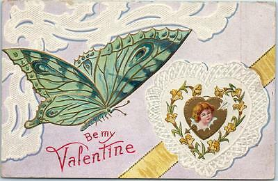 "Vintage VALENTINE'S DAY Postcard ""Be My Valentine"" Butterfly & Locket - Embossed"