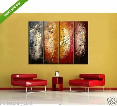 4 pieces Large Modern hand-painted Art Oil Painting Wall Decor canvas Wall Art