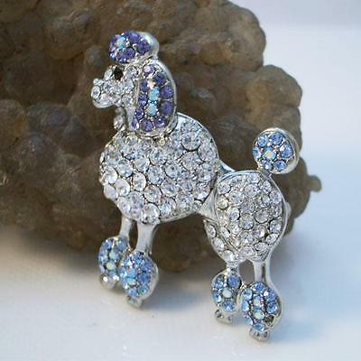 Art Deco Pet Poodle Dog Puppy Brooch Pin Blue Clear Austrian Crystal Animal Gift