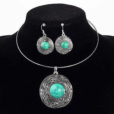 One Set Tibet Silver Howlite Luckly Turquoise Choker Necklace AND Earring  XL425