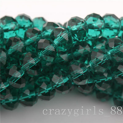 Wholesale 20Pcs Green High Quality Clear Czech Crys Rondelle Spacer Beads 8mm