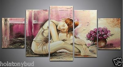 Modern Abstract Huge Wall Art Oil Painting On Canvas beauty with flower PM0110