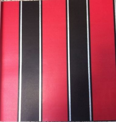 New Trends Designer Wallpaper Red Black Silver Stripes Feature Wall