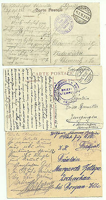 GERMANY- OCCUPATION OF BELGIUM-WW1- 3 CARDS WITH MILITARY UNITS NAMED ( 1915)