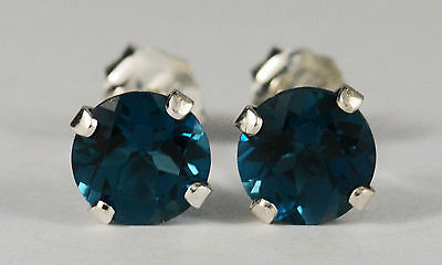 BRILLIANT GENUINE NATURAL MINED LONDON BLUE TOPAZ EARRINGS~STERLING SILVER~6MM