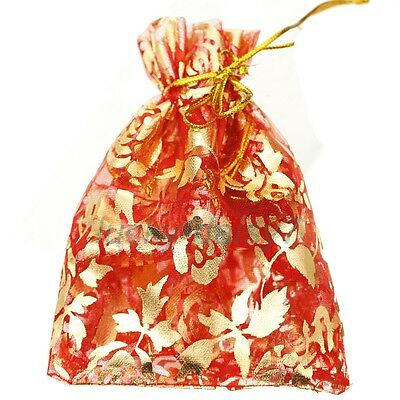 10pcs Lot Red Gauze Organza Bag Jewelry Packing Pouch Gift Storage Bags 10x12cm
