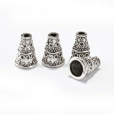 New Lot 50pcs Antique Silver Cone Shape Charms Pendants for Jewelry 10*7mm