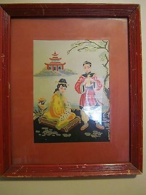 Vintage JAPANESE ART PRINT Red Frame and Mat Shabby Chippy Cottage Chic