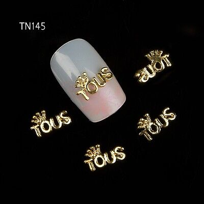 10P Girl Your Crown Glitter Crystal Alloy Nail Art Decoration TN145 Gold 5*10MM