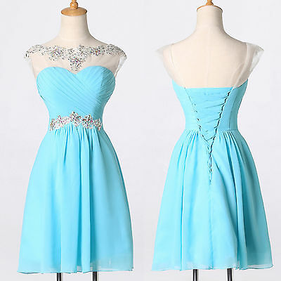 BLUE Fairy Women Formal Homecoming Prom Gowns Cocktail Short Party Evening Dress