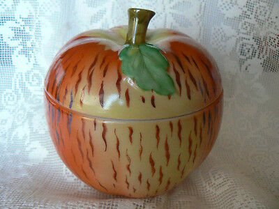 Vintage Hand Decorated Ceramic Apple Jar Container Made in Japan