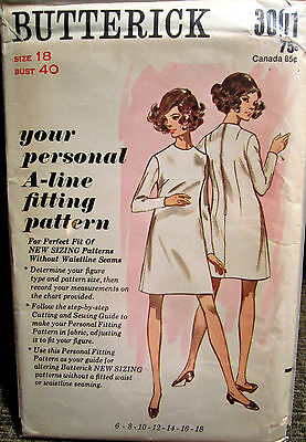 Vintage UNCUT Butterick Personal A-Line Fitting Pattern Size 18 Bust 40""
