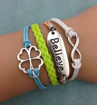 NEW Infinity Believe Flower  Leather Charm Bracelet plated Silver DIY