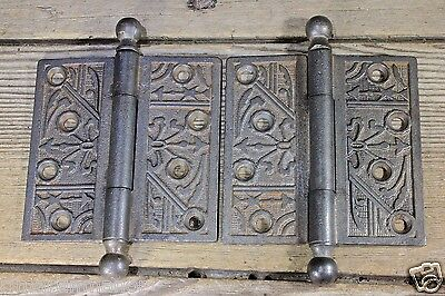"""2 Door Hinges Ball tip 4 X 4"""" old antique cleaned cast iron vintage church"""