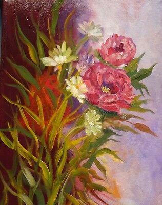 HAWAII ARTIST ART DECO Red Peonies and Daisies, Original Oil Painting, Signed