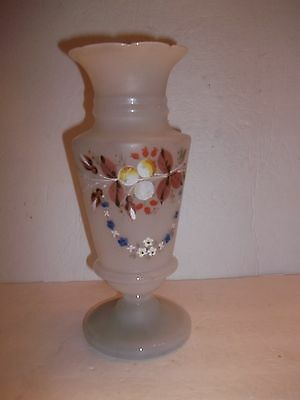 """Vintage HAND PAINTED BRISTOL VASE SATIN FROSTED Blown GLASS Fall Flowers 11"""""""