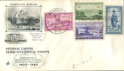 US Nov/22/1950 3c Block of 4 ArtCraft -The Capitol and White House FDC
