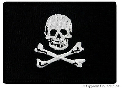 PIRATE FLAG iron-on PATCH JOLLY ROGER Skull BIKER embroidered EDWARD ENGLAND new