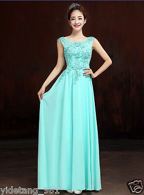New ice blue Long Chiffon Bridesmaid Evening Formal Party Ball Gown Prom Dress