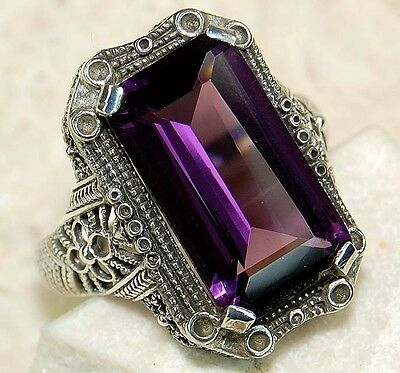 6CT Natural Amethyst 925 Solid Sterling Silver Art Deco Filigree Ring Sz 6