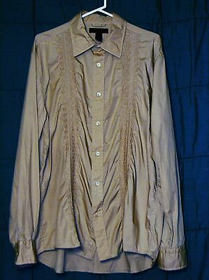 EXPRESS Mens Tan Embroidered Long Sleeve Button Down Cotton Shirt Size XL