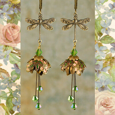 Flower Fairy ( Dragonfly's Respite) Earrings By No Monet - Free Shipping