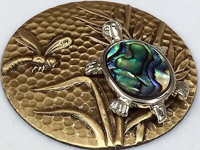 """Large Stamped Brass ~3D Picture Button With Abalone Turtle ~SO BEAUTIFUL ~1 5/8"""""""