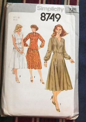 Vintage 1978 Sewing Pattern Miss Size 12  Pullover Dress Pleated Skirt