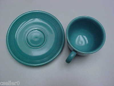 Fiesta Ware Laughlin Cup and Saucer  Turquoise Used