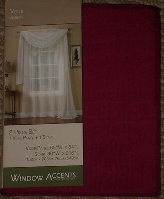 "SET 2 VOILE SHEERS- 216""SCARF & 84""PANEL Window Curtains BEDROOM HALLWAY BEDROOM"
